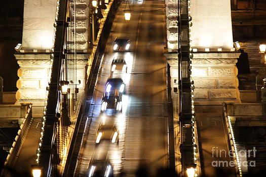 Traffic- Chain Bridge Budapest at Night by Mahsa Watercolor Artist