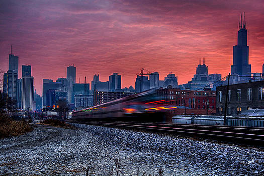 Train Across The City - Chicago Sunrise by Michael  Bennett
