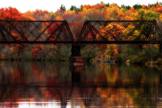 Train Bridge and Autumn Reflections by Sarah Yost