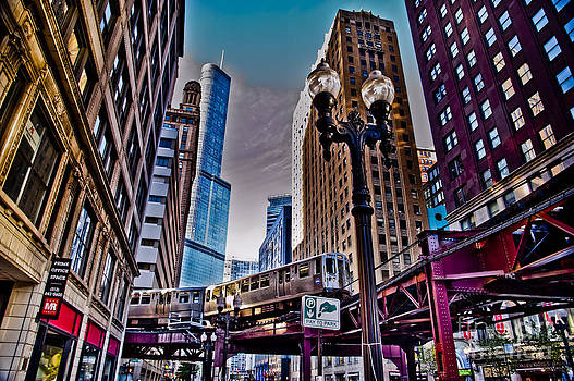 Train in the Chicago Loop by Linda Matlow