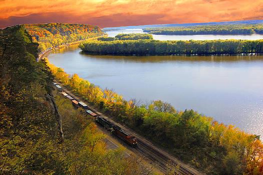 Randall Branham - Train Mississippi River Sunset