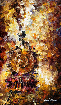 Train Of Hapiness - PALETTE KNIFE Oil Painting On Canvas By Leonid Afremov by Leonid Afremov