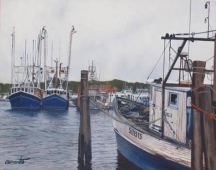 Trawlers at Gosman's Dock Montauk by Barbara Barber