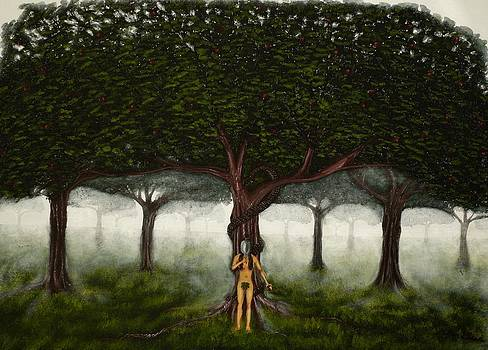 Tree of Good and Evil-eve with large green garden of eden tree by Millian Glenn