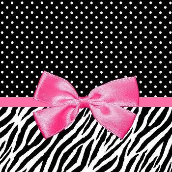 Trendy Zebra Print Pink Ribbon by Tracie Kaska