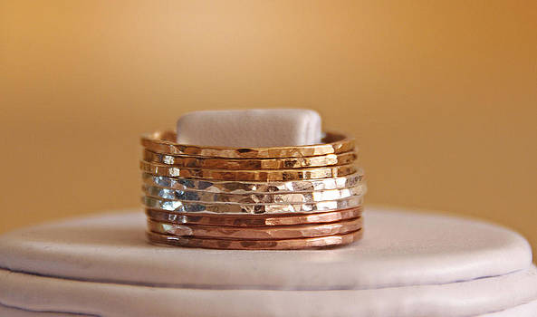 TRI COLOR 14k rose gold filled and yellow gold filled and sterling silver hammered stackable rings by Nadina Giurgiu