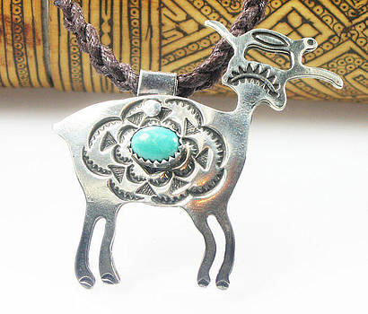 Tribal Goat Spirit with Turquoise Cabochon - Sterling Silver by Vagabond Folk Art - Virginia Vivier