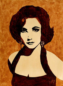 Tribute to Elizabeth Taylor coffee painting by Georgeta  Blanaru