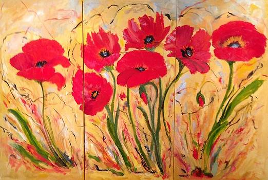 Triptych Poppies by Susan Hanning