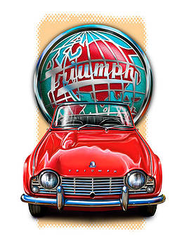 Triumph TR-4 Sportscar in Red by David Kyte