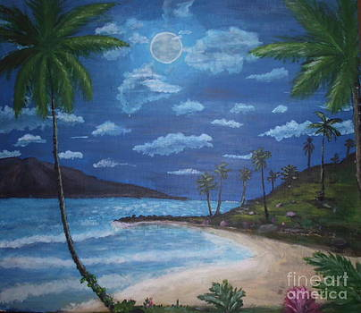 Tropical Beach In The Moonlight by Ghee Flores