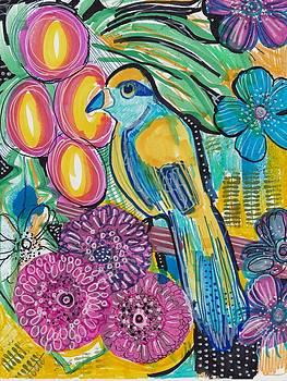 Tropical Flower Bird by Rosalina Bojadschijew
