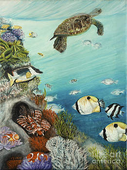 Tropical Reef Fish with Green Sea Turtle by Gail Darnell