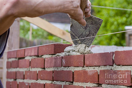 Patricia Hofmeester - Trowel spreading cement on bricks