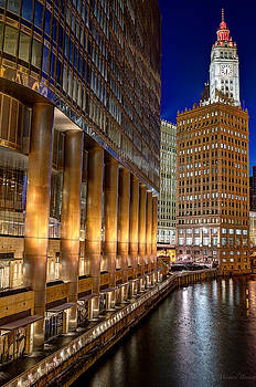Trump Wrigley Chicago River Blue Hour by Michael  Bennett