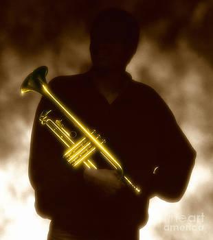 Man holding Trumpet 1 by Tony Cordoza