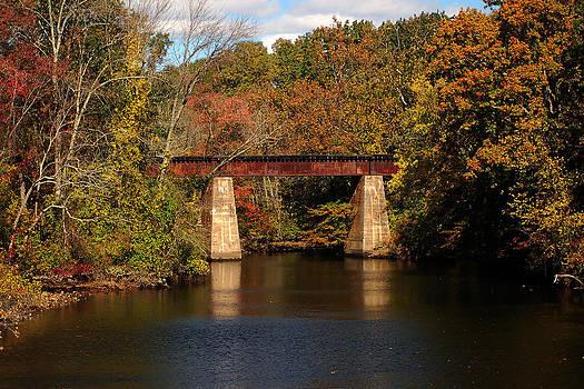 Bill Swartwout Fine Art Photography - Tuckahoe River Railroad Bridge in Fall