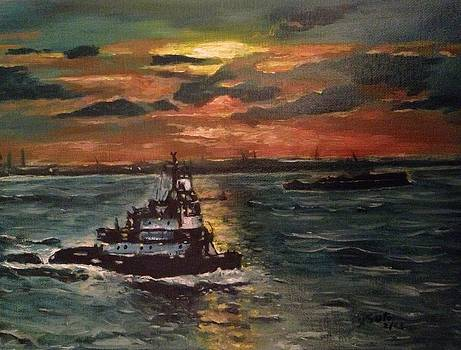 Tugboat in Upper New York Bay by Victor SOTO
