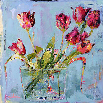 Tulips In Blue by Leslie Rock
