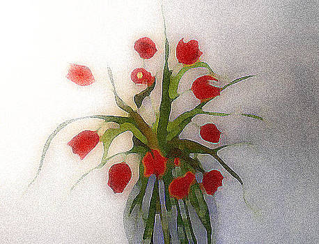 Tulips in Glass Vase by Lisa Purcell