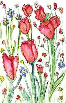 Tulips in red with iris by Georgia Piazza
