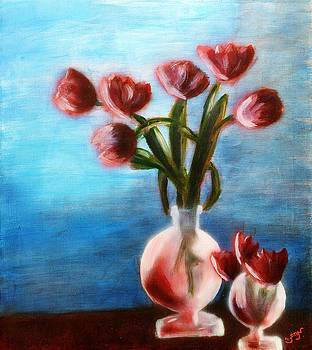 Tulips Still life in Red in rounded Vase with water and Pink and Blue and green Table flowers MendyZ by MendyZ