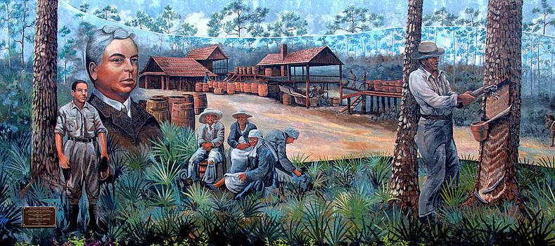 Linda Rae Cuthbertson - Turpentine Industry Wall Mural