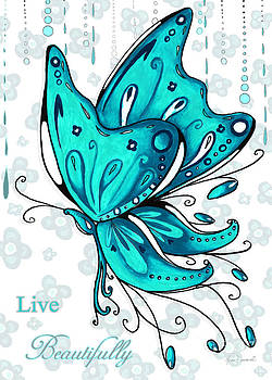 Turquoise Aqua Butterfly and Flowers Inspirational Painting Design Megan Duncanson Live Beautifully by Megan Duncanson