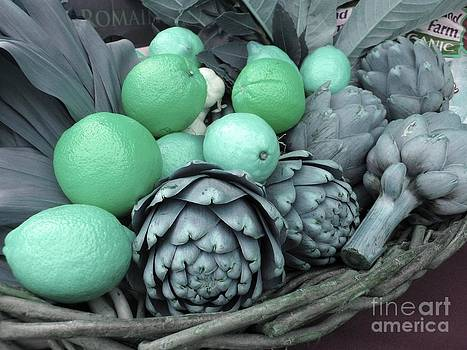 Turquoise Artichokes Lemons and Oranges by James B Toy