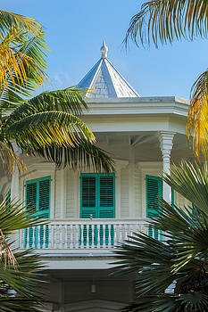 Turquoise Shutters Key West Porch by Ed Gleichman