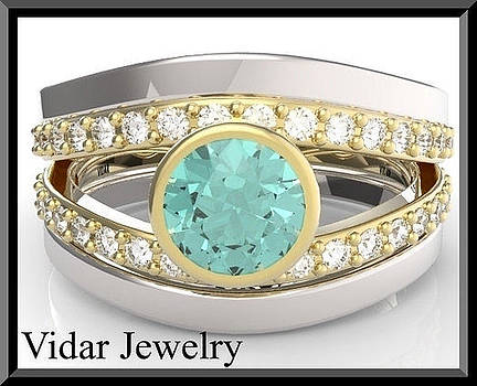 Turquoise Tourmaline And Diamond Wedding Ring And Engagement Ring Set by Roi Avidar