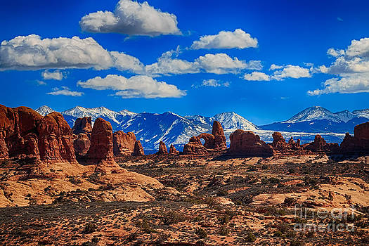 Turret Arch and the Manti la Sal Mountains by Scotts Scapes