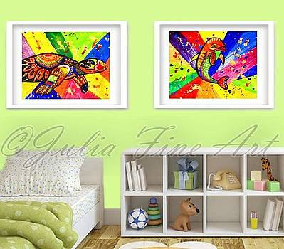 Turtle and Dolphin Pop Art by Julia Fine Art And Photography