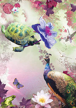 Turtle with Purple Flower by Emily Campbell