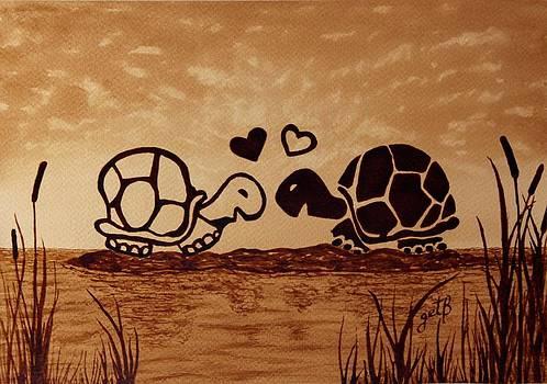 Turtles Love coffee painting by Georgeta  Blanaru