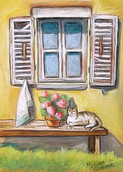 Tuscan Window with Cat by Melinda Saminski