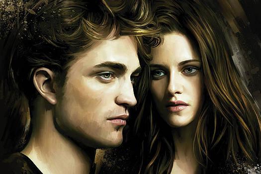 Twilight  Kristen Stewart and Robert Pattinson Artwork 4 by Sheraz A