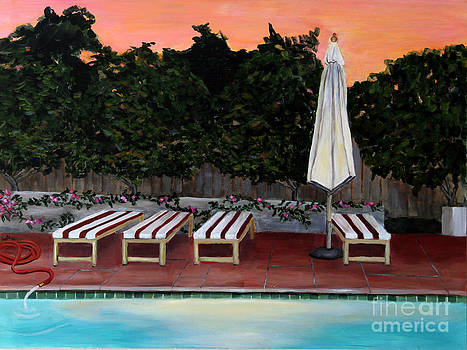 Swimming Pool at Twilight Painting by Linda Queally by Linda Queally