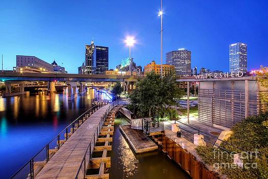 Twilight on the Milwaukee river from the St Paul Avenue Bridge by John December