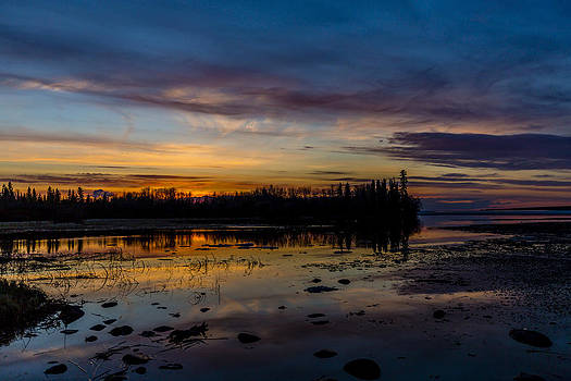 Twilight Silhouette at Candle Lake by Gerald Murray Photography