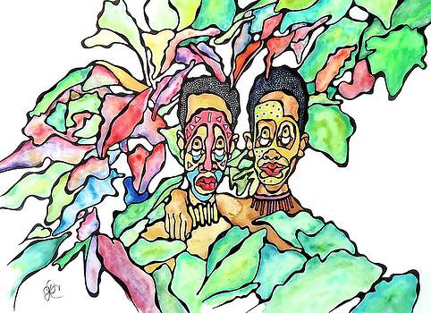 Two African Men In Leaves by Glenn Calloway