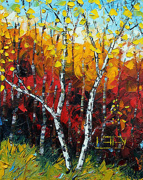 Two Birches by Lisa Elley