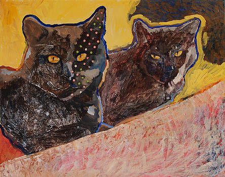 Two Black Cats by Yvonne Gaudet