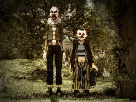 Two clowns in the forest. by Ramon Martinez