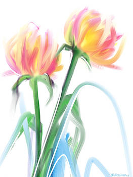 Two Dahlias by Maureen Kealy