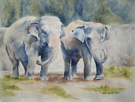 Two Elephants -SOLD by Lisa Pope