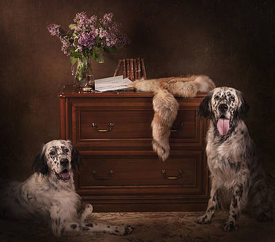 Two English setters... by Tanya Kozlovsky