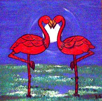 Two Flamingos by Lynette  Swart