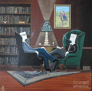 Two Gentlemen Sitting in Wingback Chairs at Private Club by John Lyes