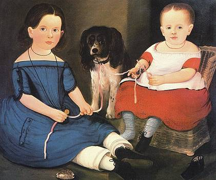 Two Girls With Dog Minny by William M Prior